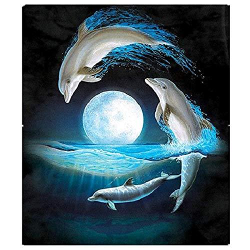 Pintura Diamante de BaZhaHei, Punta de delfín taladro 30 * 34cm del 5D DIY Pintura Diamante Bordado Cruz Artesanía Puntada Decoración Para El Hogar Arte de Decoración del hogar Dolphin Pinturas