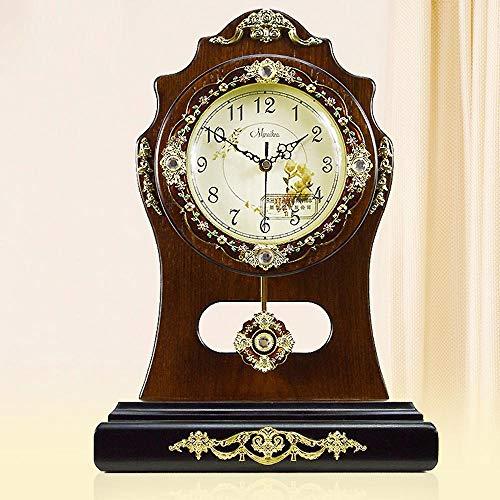 irugh Relojes de Chimenea,Reloj de Madera Adornos Vintage Reloj Pastoral Silencio electrónico...