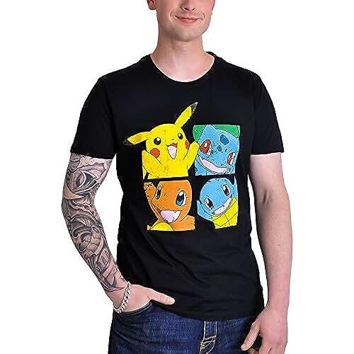 Pokémon - Pikachu & Friends Hombres Camiseta - Negro - Tamaño X-Large