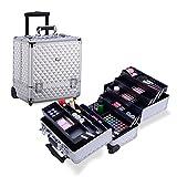 MUA LIMITED Professional Makeup Beauty Trolley, 8 Tray Makeup Artist Aluminium Case on Wheels, Cosmetic Storage Organiser, Silver Diamond Design immagine