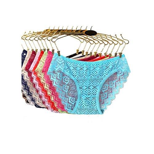 Damen Unterwäsche ultradünnen durchscheinend niedrigen Slips niedrige Taille 9 Pack 5 Packungen (alle Yards) a