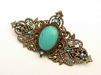 Pince à cheveux en pierre gemme avec cabochon turquoise