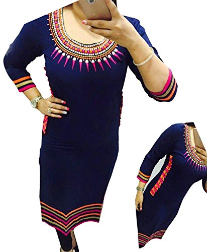 Selfie style Reeva Trendz Blue color Georgette Embroidery semi stitched kurti (Women's...