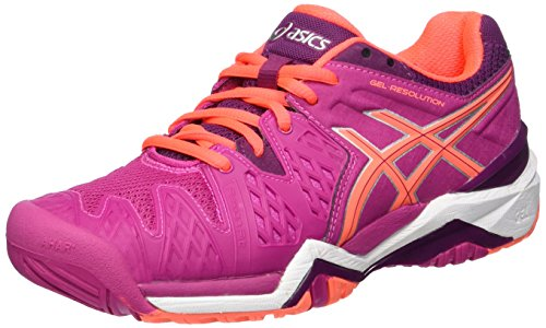 Asics Damen Gel-Resolution 6 Tennisschuhe, Multicolore (Berry/Flash Coral/Plum), 39 EU