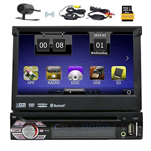 HD Wireless-Backup-Kamera Eincar Single 1 DIN 7 Zoll Motorisierter HD Touchscreen Autoradio Autoradio GPS-CD-DVD-Spieler-Empfänger, Bluetooth, abnehmbare Frontplatte mit 8 GB Karte Card + Wireless Remote (Abnehmbare Frontplatte Touchscreen)