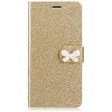 Funda S para móvil Samsung, con lazo y mariposa brillantes, piel sintética, dorado, Samsung Galaxy S6 Edge Plus