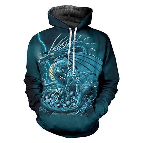 Cooler Skull Print Flashing Dragon 3D Sweatshirt Street Pullover Streetwear Hoodie Blue Dragon XL