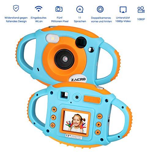 Zacro Kinder Kamera Kid Cam Mini Digital Camera Camcorder mit USB Kabel, 5 Megapixel, 1.8 Zoll Display, Front-Heck-Doppellinse, Eingebautem WiFi, unterstützt 32G TF-Karte und Multi-Sprache