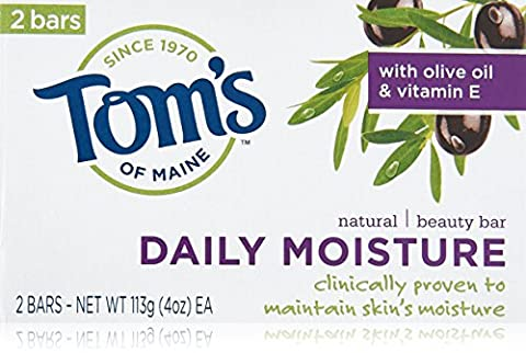 Tom's of Maine Daily Moisture Natural Beauty Bar Soap, 4oz, with Olive Oil & Vitamin E 2 bars