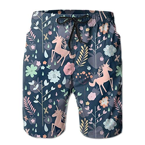 Unicorns in The Garden of Hesperides Men's Printing Quick Dry Beach Board Shorts Swim Trunks L -