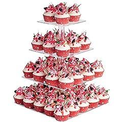 Idea Regalo - Cupcake Stand, Clear Acrilico Partito Stoviglie Piazza Cake Stand Centrotavola per Festa Nuziale Baby Shower Compleanno (4 Livelli)