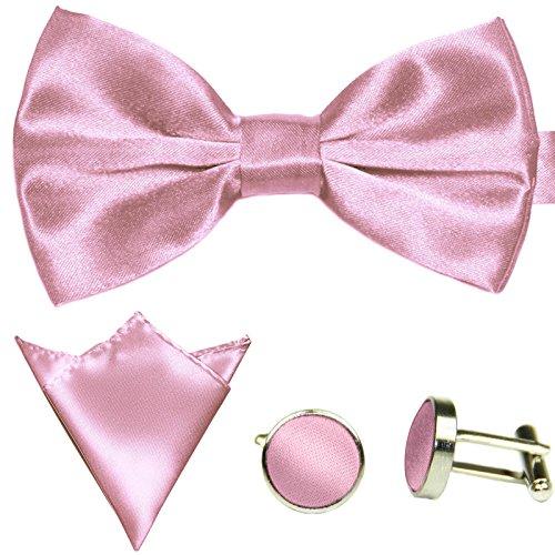 3-SET Fliege Rosa Rose Manschettenknöpfe Einstecktuch Satin Seiden Optik - Schleife zum Anzug