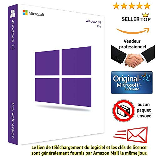 Windows 10 professionnel 32/64 bits Microsoft | Licence Français | Clé d'activation originale | Livraison par e-mail