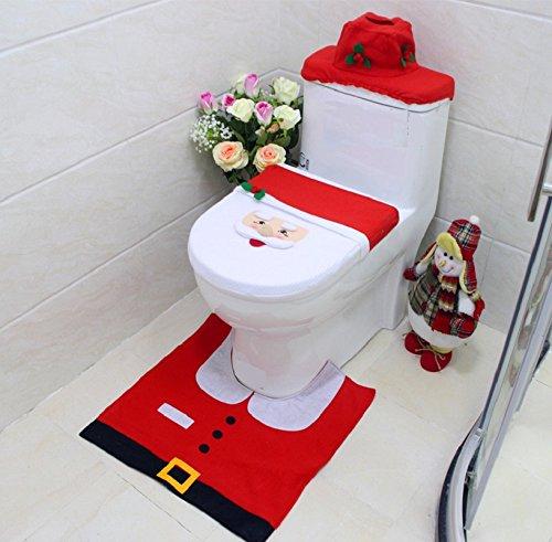 Alicemall Insieme di 3 Decorazioni di Natale Babbo Sedile WC Coperchio e Tappeto Scatola del Tessuto di Copertura Insieme
