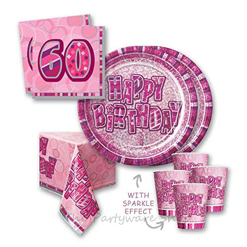 Pink Glitz Sparkle 60th Birthday Party Tableware Pack for 16 by The Partyware Shop