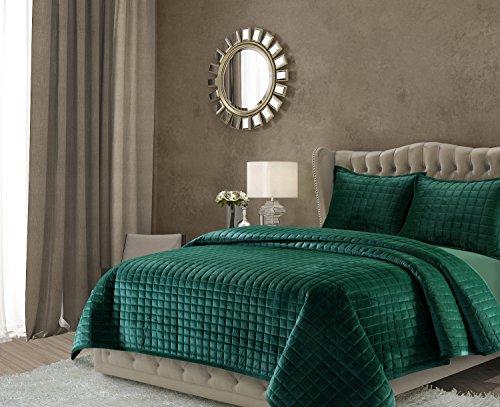 NCEQUIKISI Florence Bettwäsche-Set aus Samt, Übergröße Modern King smaragdgrün ()