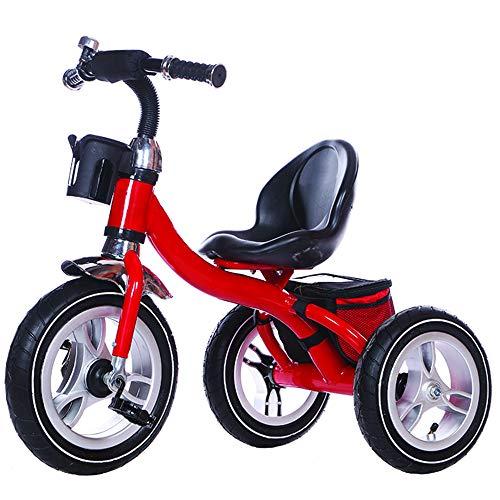 Little Bambino Kids Dreirad für Kinder von 3 bis 6 Jahren | Luftgefüllte Gummiräder |Flaschenhalter | Aufbewahrungsbeutel | Einfache Montage in 10 Minuten | Verstellbarer Hochstuhl (Rot)