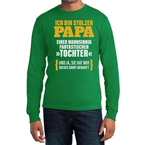 Geschenk für Vater - Ich Bin Stolzer Papa Einer Tochter Langarm T-Shirt Grün