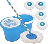 #7: Magic Dry Bucket Mop - 360 Degree Self Spin Wringing With 4 Super Absorbers for Home & Office Floor Cleaning Mop Set (Built in Wringer Blue)