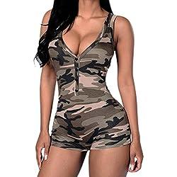 LAEMILIA Combinaison Femme Sexy Eté sans Manche Col-V Camouflage Mini Court Combishort Debardeurs Jumpsuit (FR38, Camouflage)