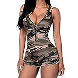 Lisli Damen Jumpsuit Camouflage Ärmellos V Ausschnitt Knopfleisten Figurbetont Stretch Hot Pants Einteiler Casual Playsuit Party Club Streetwear Overall