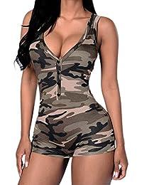 LAEMILIA Combinaison Femme Sexy Eté Sans Manche Col-V Camouflage Mini Court Combishort Debardeurs Jumpsuit