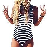 BriskyM Sexy Damen Scoop Neck Schwarz Weiß Gestreiften Einteiligen Bikini Badeanzug (Gestreift, S)