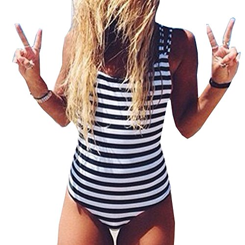Sexy Damen Scoop Neck Schwarz Weiß Gestreiften Einteiligen Bikini Badeanzug (Gestreift, M)