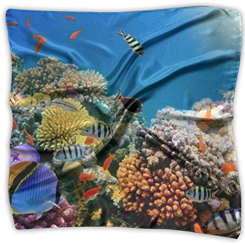TGSCBN Teppich Tropical Fish On Coral Reef1 Square Scarf Damen Halstuch Headwear Seidenschals 100CM Large - Coral Tropical Teppich