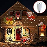 catmallout Lamp Bulb Waterproof Moving Projector LED B22 4W Indoor Rotating Light Snowflake Xmas Tree Santa for Home and Christmas Decorations