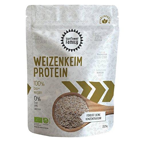 Weizenkeim Proteinpulver bio (225g) von Sunflower Family - veganes Proteinpulver in Bio-Qualität - 100% pflanzlich, vegan und low carb - ohne Süßstoff, Laktosefrei und frei von Soja