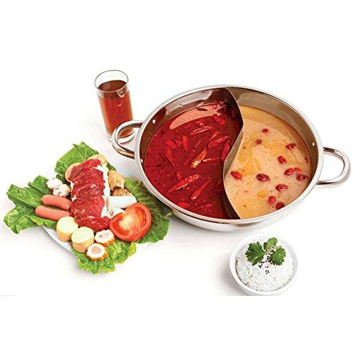 hofumix Shabu Shabu Dual Sided Hot Pot mit Trennwand Yuanyang Topf Chinesische Hot Pot Pfannen für Induktion Gasherd Kochfläche