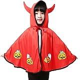 Funpa Kids Halloween Umhang Modische OX Horn Dekor Kürbis Muster Kostüm Umhang Party Cosplay Umhang