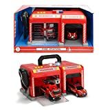 #1018 Feuerwehrstation mit 2 Fahrzeugen inklusive Mikrofon, Licht und Sound • Feuerwehr Kinder Spielzeug Feuerwehrauto Rettungswagen Lösch Fahrzeug Auto Set