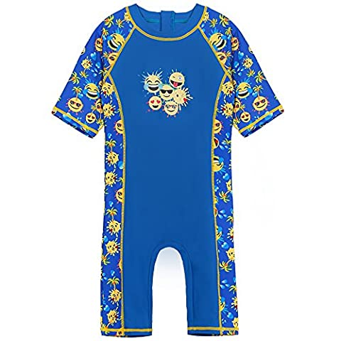 HUANQIUE Boys One Piece Swimsuit 3-10Y 50+UV Swimming Costume Outfits (NavyEmoji, 7-8Y(Tag