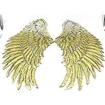 2 alas lentejuelas doradas termoadhesivas para cazadora vaquera, vestido fiesta, disfraz, ropa,costura.. de 33 x 18 cm. de OPEN BUY