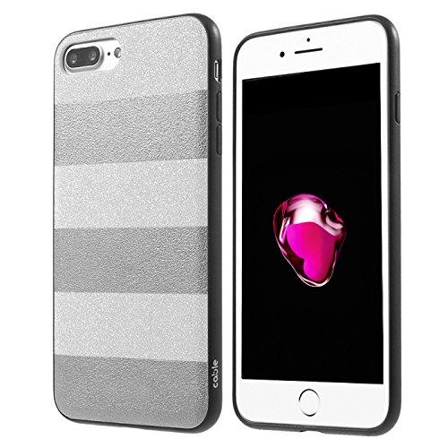 Marca Cable Technologies Stardust Silver w/Metal Plate iPhone 7 Plus/8 Plus, Cover scintillante a Righe, ottimi materiali, Glitter Silver