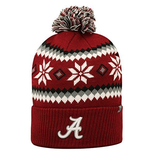 Alabama Crimson Tide Official NCAA One Size Fogbow Cuffed Knit Beanie Hat by Top of (Crimson Knit Beanie)