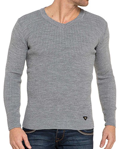 BLZ jeans - Hellgrau gerippten Pullover Grau