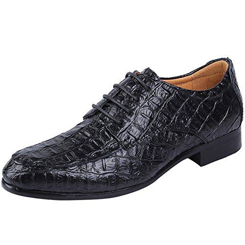 ODEMA Man Kleid Hochzeit Büro Business Arbeit Party Schuhe Gentleman Casual Pointed-Toe Schlupfschuhe, Schwarz - Schwarz - Größe: 41.5 (Krokodil-muster-leder)
