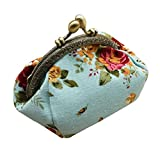 Amlaiworld Frauen Lady Retro Vintage Flower kleine Brieftasche Hasp Handtasche Clutch Bag (blau)