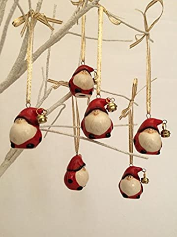 Set of 6 Small Ceramic Santa With Bell Father Christmas Tree Decorations