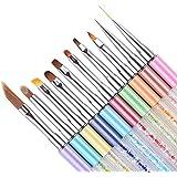 BORN PRETTY 10Pcs UV Gel Painting Liner Gradient Brush Pen Rhinestone Handle Manicure Nail Art Brush Set