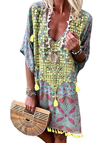 Happy Sailed Damen Kurzarm V-Ausschnitt Retro Bikini Cover Up Strandkleid Bikinikleid Beachwear S-L, Grün, Small(EU36-38)