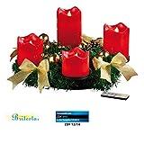 Britesta Künstlicher Adventskranz: Adventskranz, golden, 4 rote LED-Kerzen mit bewegter Flamme (Adventsdeko-Kerzen-Kränze)