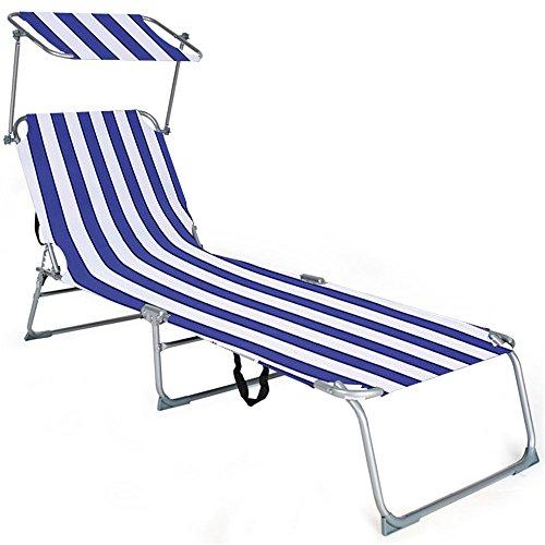 MCTECH® Klappbar Strandliege Freizeitliege Gartenliege Sonnenliege Schaukelliege Campingliege Regiestuhl, 188 x 58 x 30 cm (Blau Streifen)