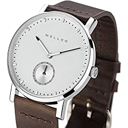 Meller Unisex Maori Dag Earth Minimalist Watch with White Analogue Display and Leather Strap
