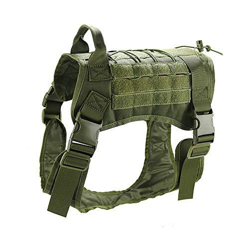 Petvins Tactical Dog Molle Vest Harness K9 Service Vest Verstellbare Outdoor Training Kostüm Camouflage Geschirr, M, Armee-grün -
