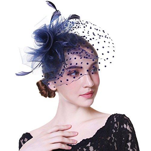 Welrog WELROG Frauen Fascinators Net Garn Handgemachter Hut - Party Kopfbedeckung für Mädchen (Navy Blau 2)