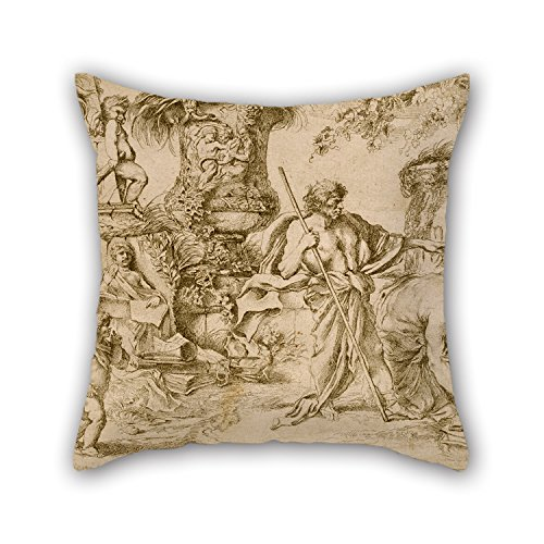 Bestseason Oil Painting Giovanni Benedetto Castiglione - Temporalis Aeternitas Pillow case/Copricuscini e federe 18 X 18 Inches / 45 By 45 Cm Best Choice For Valentine,saloon,gf,car,play Room,teens Girls With Each Side